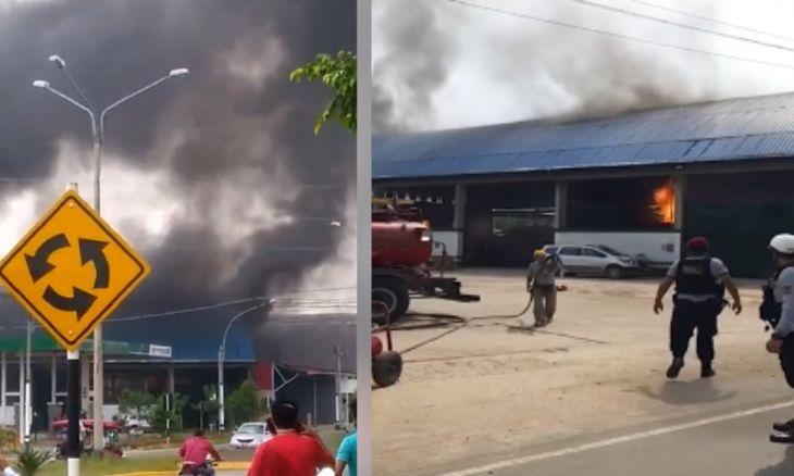Incendio de dos cisternas de transporte de combustible dentro de un almacén al costado de un grifo causó zozobra en los vecinos de la cuadra 18 de la vía de evitamiento