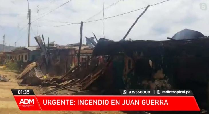 Juan Guerra:  Tres viviendas fueron reducidas a escombros tras un incendio de gran magnitud frente a la carretera FBT