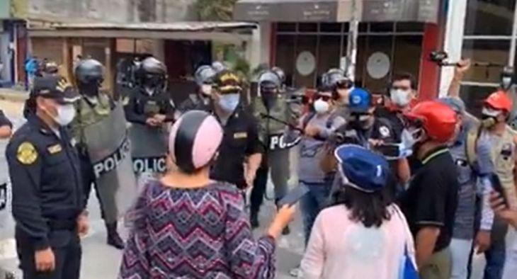 Policia Nacional del Perú intervino protesta de docentes pertenecientes al SITER [VIDEO]