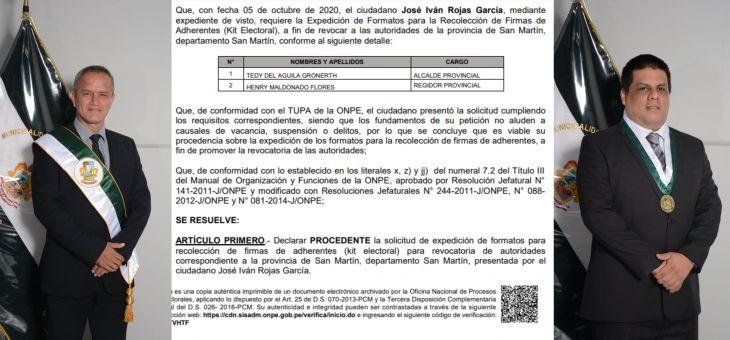ONPE declara procedente solicitud de expedición de formatos para recolectar firmas para revocatoria del alcalde de Tarapoto