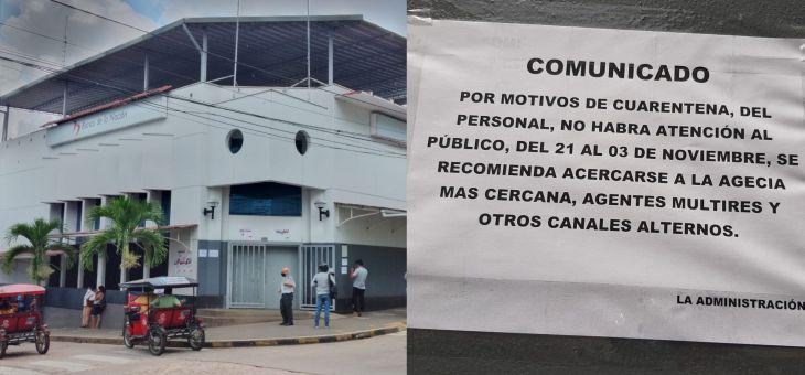 Covid-19: Banco de la Nación suspendió atención hasta el 3 de noviembre en la agencia Tarapoto