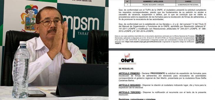Pedro Bogarín: ONPE declara procedente solicitud de expedición de formatos para recolectar firmas para revocatoria del Gobernador Regional de San Martín