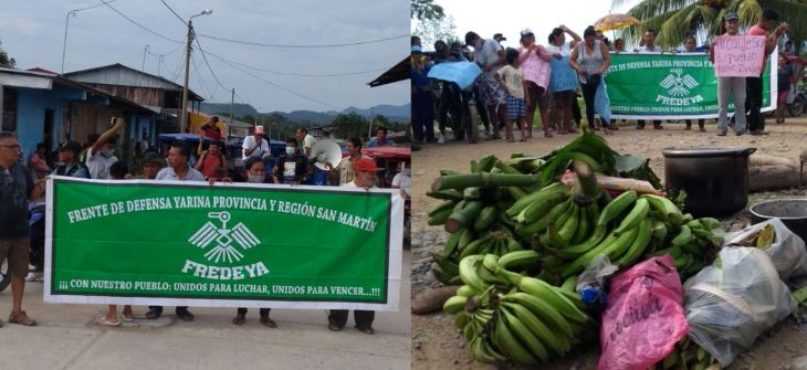 Yarina: Con bloqueo de carretera y el transporte fluvial, pobladores acatan un paro de 24 horas