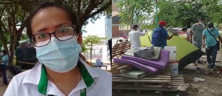 Retiran carpas y toldos del frontis de hospital de Tarapoto