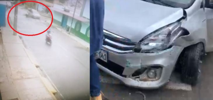 Ciudadano extranjero resultó con fractura en pierna y brazo tras chocar una motocicleta contra un automóvil en el Barrio Huayco en Tarapoto