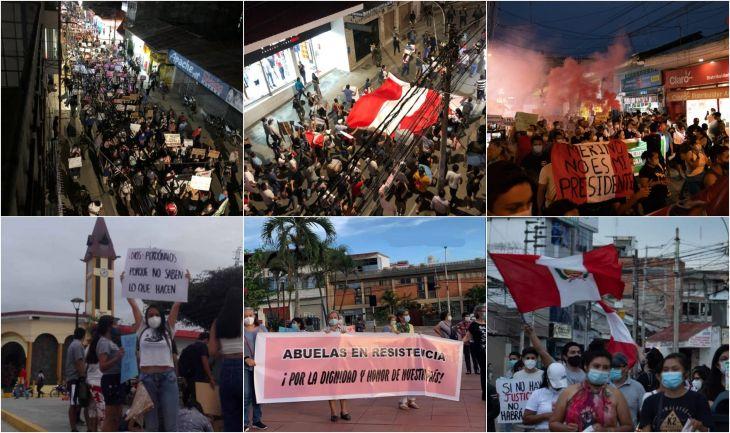 En toda la Región San Martín se realizaron movilizaciones en rechazo al nuevo presidente de la República y a los Ministros de Estado