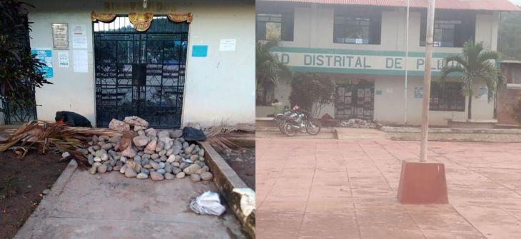 Pilluana: Grupo de pobladores bloquearon la puerta principal de la Municipalidad impidiendo el ingreso de alcalde y trabajadores ediles