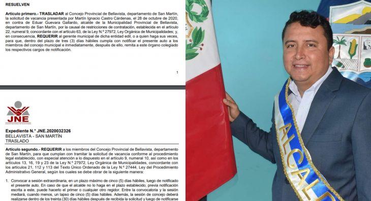 JNE corrió traslado pedido de vacancia del Alcalde de Bellavista Eduar Guevara Gallardo a Regidores