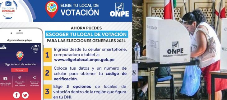 ONPE: Ya está disponible plataforma para elegir local de votación