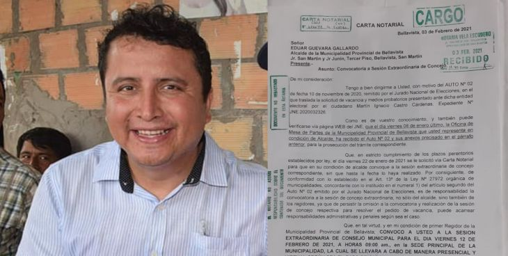 Primer Regidor de Bellavista cita a sesión extraordinaria para el viernes 12 de febrero para tratar pedido de vacancia del alcalde Eduar Guevara Gallardo