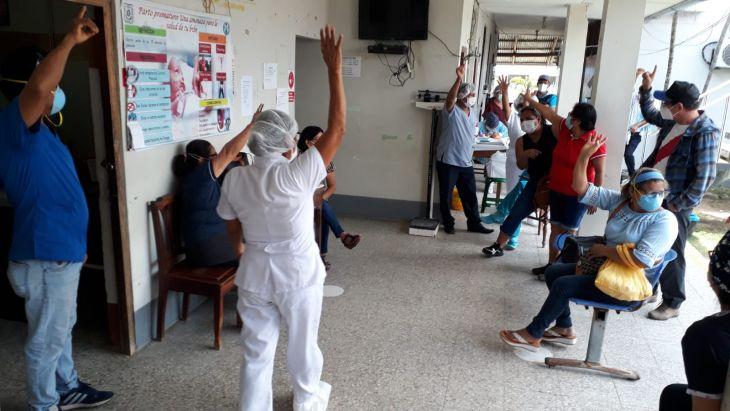 Personal del centro de Salud del distrito de Morales acata desde hoy huelga indefinida, exigiendo pago de Bonos Covid