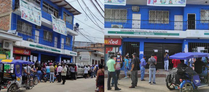 Esperando adjudicación de plazas, forman largas colas y aglomeraciones frente a la UGEL San Martín