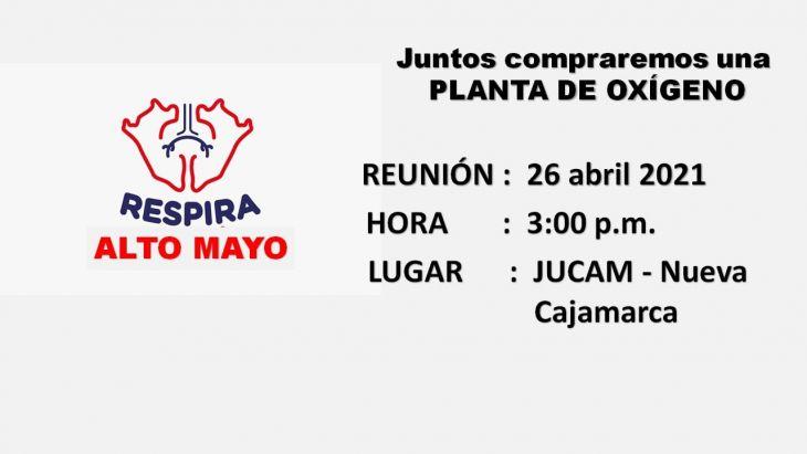 Ante avance de COVID-19 y la necesidad de oxígeno, hoy conforman Respira Nueva Cajamarca, para comprar planta de oxígeno medicinal