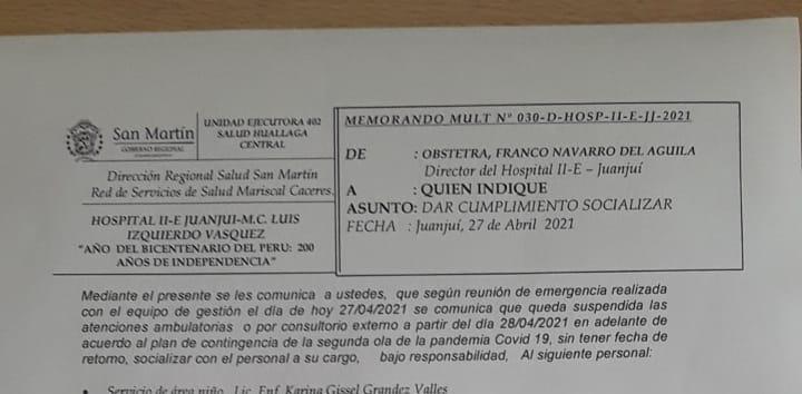 Suspenden consultas externas en hospital de Juanjuí por avance de la COVID-19