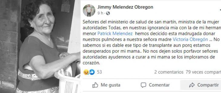 Falleció en el hospital de Tarapoto, ciudadana de Lamas cuyo hijo ayer al mediodía a través de Radio Tropical pedía urgente una cama UCI