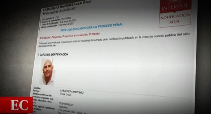 Desde ayer se encuentra vigente una orden de la Interpol para ubicar y capturar a nivel internacional a Carlos César La Barrera Martínez