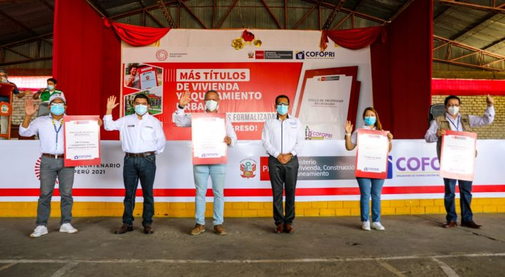Cofopri entregó 862 títulos de vivienda y equipamiento urbano, a instituciones públicas y viviendas en las provincias de San Martín, Huallaga, Lamas, Moyobamba y Tocache