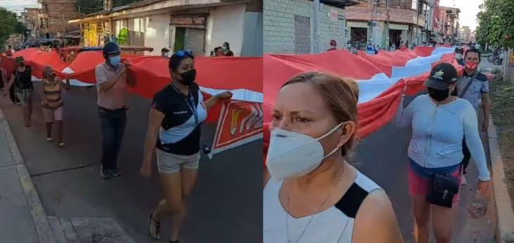 Militantes y simpatizantes de Perú Libre en Tarapoto realizaron ayer una marcha de protesta denominada en defensa del voto popular