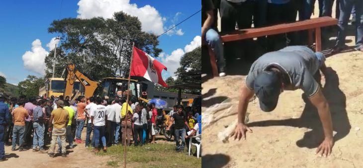 Por no concluir obra vial Gerente Municipal de Lamas y Supervisor de obra fueron sometidos a castigo físico
