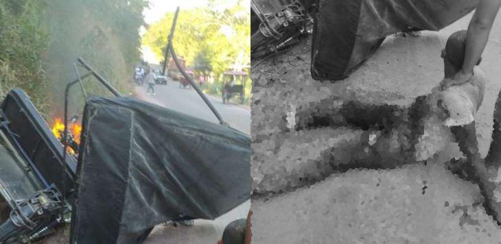 Tras impactar con un camión volquete mototaxista resulta con graves quemaduras cerca de la ciudad de Bellavista