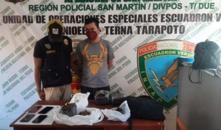 Tarapoto: Agentes del grupo terna de la PNP capturaron a un sujeto con dos kilos 700 gramos de marihuana en partido alto