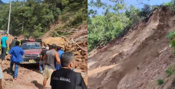 Continúan derrumbes en la carretera en el sector Shucshuyacu en la carretera a San José de Sisa