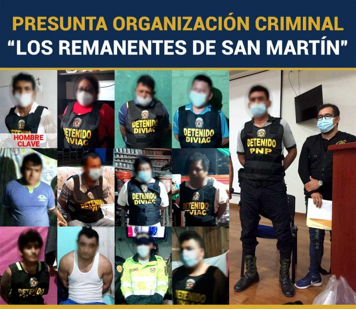 """Por la complejidad del caso, audiencia contra presunta organización criminal """"Los Remanentes de San Martín"""" se realizará en varias audiencias consecutivas"""