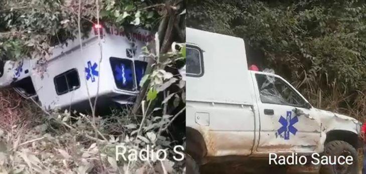 Por mal estado de carretera se despista ambulancia del centro de salud del distrito de Sauce