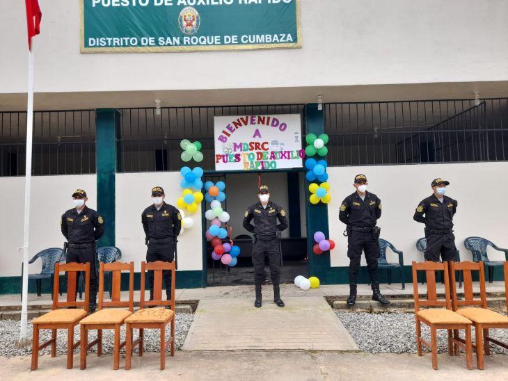 Jefe de la XI macro región policial San Martín, inauguró Puesto de Auxilio Rápido (PAR) en el distrito de San Roque de Cumbaza