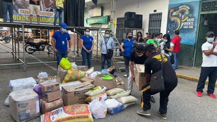 Dos toneladas de productos no perecibles se recolectó en Tarapoto para deudos del accidente fluvial de Yurimaguas