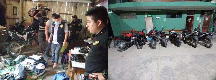 PNP de Nueva Cajamarca, Naranjillo y Naranjos, recuperan 7 motos robadas y capturan a cuatro integrantes de banda de roba motos