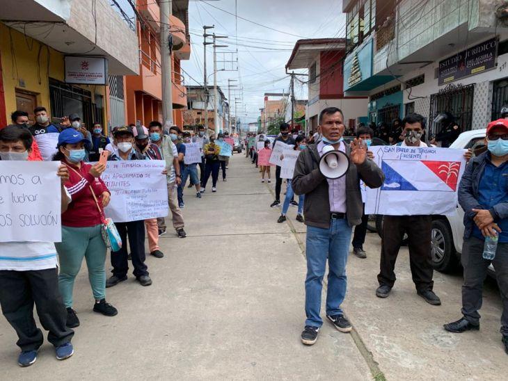 Los pueblos de los distritos de Huimbayoc, Papaplaya, Pelejo, y Chipurana, aprobaron iniciar una huelga general indefinida desde el 20 de octubre